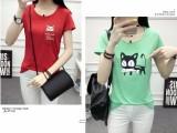 6元夏季女装地摊货源韩版棉短袖女式T恤修身套头印花彩色T恤女
