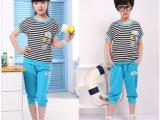 广州产地女大童品牌服装 童装套装短袖中裤 2014新款条纹运动套