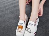 厂家直销 Q版鹿晗同款女学生EXO鞋子 低帮平底套脚帆布鞋 懒人