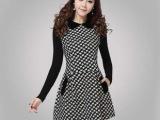 2014女装新款娃娃领呢料拼色细针织打底连衣裙 韩版 品牌女装