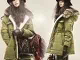2013秋冬新款 欧美大牌女式兔毛领羽绒服 中长款加厚女式羽绒服