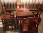 红木休闲茶桌 缅甸花梨木龙腾系列茶桌6件套