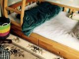 纯松木实木床,全套配置,带两个全山棕床垫
