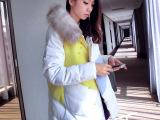 2015新款韩版女装甜美斗篷加厚中长款A字型撞色拼接羽绒棉服外套