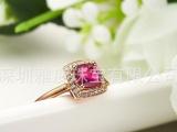 雅度珠宝 天然红碧玺戒指 18K玫瑰金镶南非真钻女戒 钻石宝石戒
