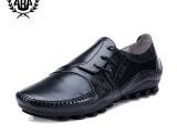ABA正品 头层牛皮男士鞋子真皮个性侧系带休闲驾车鞋 休闲男鞋