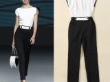 2014欧美春夏女装新款 撞色拼接修身连体裤连身裤长裤