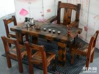 黔南市老船木茶桌椅子仿古茶台实木沙发茶几餐桌办公桌家具博古架