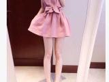 韩国代购东大门2014夏装新款甜美圆领蝙蝠袖蝴蝶结修身连衣裙