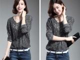 镂空针织衫V领线衫纯色新款春秋薄外套女套头蝙蝠袖毛衣