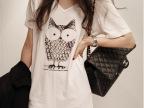 2014夏季新款女装 韩版猫头鹰中长款宽松大码V领短袖T恤女AD8829