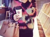 一件代发14秋装新款韩印象花纹毛绒编织时尚彩色套头毛衣41015