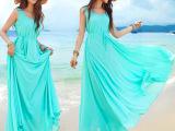 2015夏装新款飘逸大摆波西米亚长裙 纯色背心裙 三亚度假