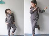 2014秋季新款韩版儿童套装 中大女童连帽卫衣休闲套装亲子外套