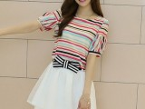 夏装新款女装韩版小清新短袖雪纺连衣裙两件套套装裙