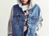 2014新款韩版牛仔拼接卫衣棒球外套