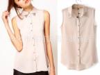 2013夏装新款欧美女式衬衫 ASOS同款无袖背心钉钻雪纺衬衫上衣 女