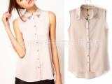2013夏装新款欧美女式衬衫 ASOS同款无袖背心钉钻雪纺衬衫上