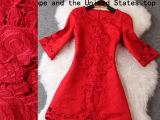 2014秋季新款明星同款气质纯色绣花镂空圆领喇叭袖连衣裙T217