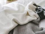 供应 针织棉线毯子 北欧风格条纹毯午睡办公司盖毯