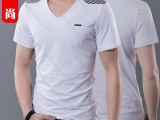 2014夏季男装短袖T恤 弹力男式短袖t恤 潮男条纹V领修身体恤