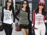 2013年秋装新款女装 欧美风插肩长袖拼色时尚字母印花T恤