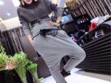 欧洲站2014秋冬新款女套装 披肩斗篷针织衫上衣+毛呢哈伦裤三件