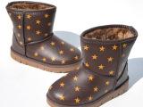 巴米奇童鞋 男女款4-12岁 冬季加毛保暖皮面防水防滑雪地棉靴