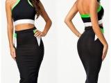 欧美站夏季新款两件套连衣裙  撞色性感露背挂脖露肚挤铅笔裙