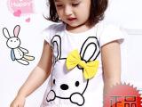 童装 2014 女童装夏季 衣服新款宝宝卡通小兔  纯棉运动套装