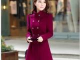 新款韩版潮宽松中长款毛呢外套纯羊毛双面呢大衣女