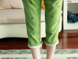 日单森林系森林绿手工刺绣夏凉蜻蜓飞松紧腰森女棉麻休闲裤七分裤
