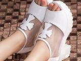 2014夏季新款 鱼嘴防水台粗跟高跟真皮凉鞋 广州外贸女鞋批发代