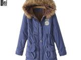 女人帮 冬装新款外贸棉衣女 欧美修身连帽中长款女式棉服外套批发