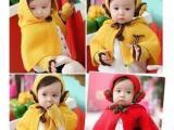 秋冬女宝宝发带女童毛线连帽披肩耳套手套婴儿童帽子三件套批发