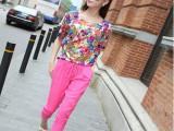 欧洲站夏休闲套装夏装短袖雪纺衫胖妹妹宽松大码韩版七分裤两件套