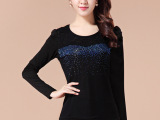 2014秋冬新款 韩版修身拼接T恤圆领蕾丝烫钻长袖打底衫女