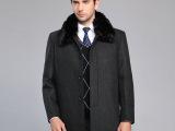 2016冬季新款加绒中长款带毛领毛呢大衣