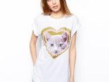 2014春夏女新款ASOS可爱立体桃心小猫挽袖T恤短袖圆领中长款