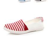 2014春夏季新款韩版条纹帆布单鞋女韩版潮低帮浅口套脚帆布鞋