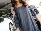 2014秋装新款韩版蝙蝠衫长袖打底t恤女装批发宽松蕾丝拼接中长款