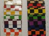 格仔PVC印花皮革 大格子花纹面料 箱包方格合成革 正方格镜面皮