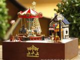 礼品diy小屋批发 旋转木马欢乐园T-020欢乐版 模型玩具一件