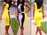 外贸ebay 速卖通外贸爆款撞色条纹拼接连衣裙 火爆绑带裙