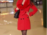 2013冬季新款韩版女装修身双排扣中长款羊毛呢子大衣外套厂家直销