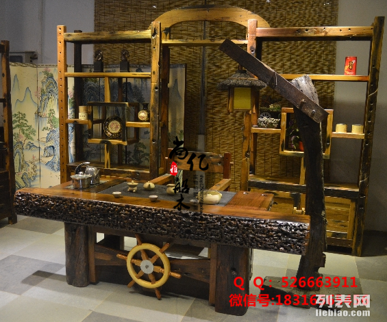 镇江古典老船木尚亿家具批发客厅阳台茶桌实木原生态茶台
