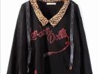 春装韩版女装日本原单日系豹纹领背带外贸针织t恤121086