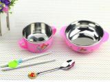 不锈钢儿童餐具 宝宝防烫碗 婴儿碗筷勺 不锈钢套装 特价促销