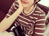 2015韩国东大门爆款女士条纹短袖 学院风打底衫 t恤 一件代发