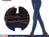 最新款加绒加厚牛仔裤韩版潮时尚打底裤女冬小脚显瘦弹力保暖长裤